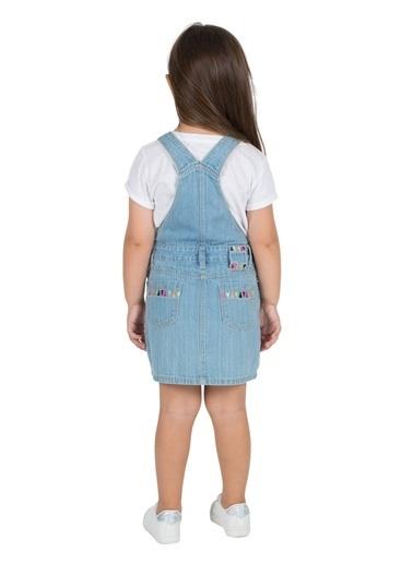 Silversun Kids Kız Çocuk Açık Denim Nakışlı Cepli Kot Elbise Ek 216030 Mavi